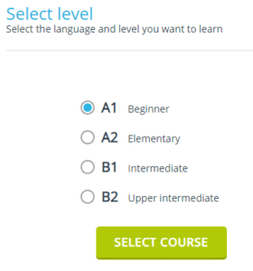 Выбор уровня знания английского языка