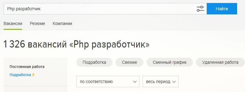 Вакансии php разработчик